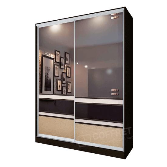 Шкаф-купе с зеркалом и вставками из лакобеля
