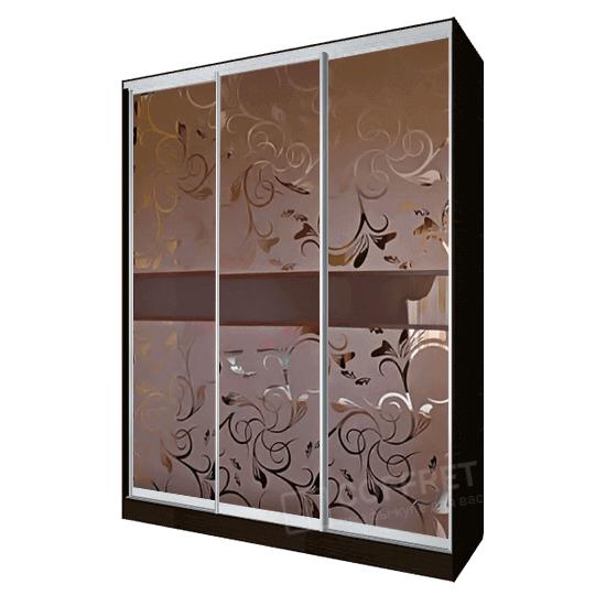 Шкаф-купе с бронзовым зеркалом и пескоструем