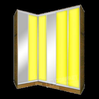 Шкаф-купе угловой трехдверный с лакобелем
