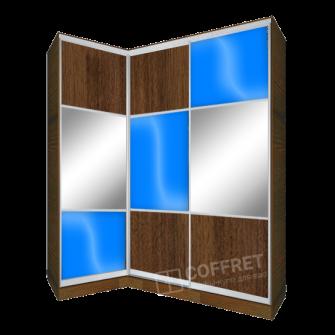 Шкаф-купе угловой с ДСП, зеркалом и лакобелем