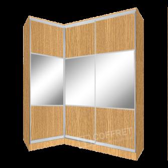 Шкаф-купе угловой с зеркалом и светлым ДСП