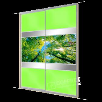 """Шкаф-купе с лакобелем, вставками зеркала и фотопечатью """"Зеленый лес"""""""