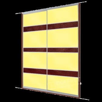 Шкаф-купе с желтым лакобелем и вставками кожи