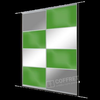 Шкаф-купе с зеркалом и зеленым лакобелем