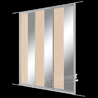 Шкаф-купе трехдверный с вертикальными вставками ДСП и зеркала