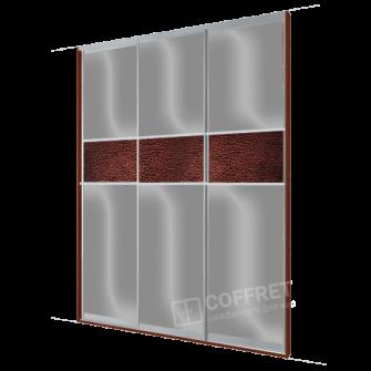 Шкаф-купе с серым лакобелем и вставками кожи